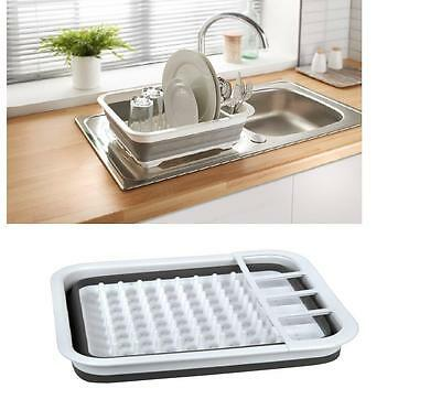 Kitchen Dish Rack Drainer Plate Cutlery Holder Silicone Collapsible Compact New