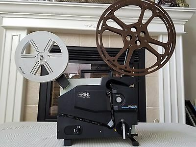 Vintage ELMO 16-CL Optical 16 MM Film Movie Projector w/ Manual, Cover & 2 Reels