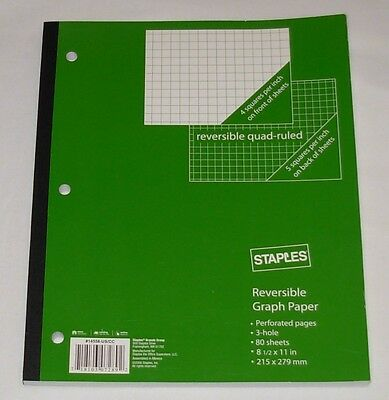 """New Reversible Graph Notebook 4 Square / 5 Square 8 1/2"""" x 11"""" Staples 80 Sheets"""