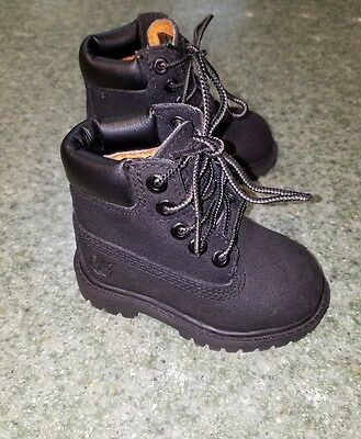 New! Infant Toddlers Size 4 Black Leather Timberland Boots Shoes