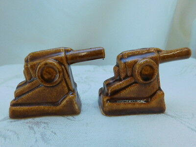 Niloak Pottery Cannon Salt And Pepper Shakers Very Rare Wwi Figural