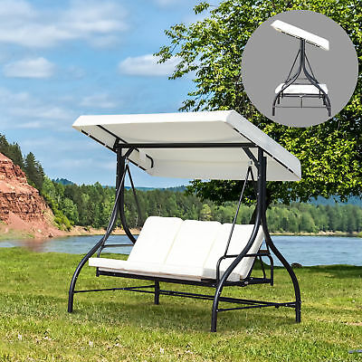 Outsunny 3 Seater Canopy Swing Chair Porch Hammock Bed Garden Rocking Bench