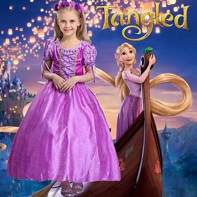 Halloween Girls Rapunzel Dress Tangled Costume Princess Cosplay Fancy Costume