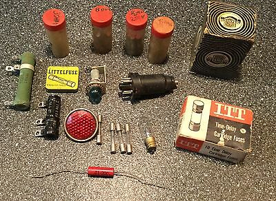 Vintage Lot Of Fuses, Transformers, Light bulbs, Etc Fuse Lot Littefuse And More