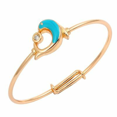 Baby Girls 18K Gold Filled Cubic Zirconia  Adjustable Blue Dolphin Bangle