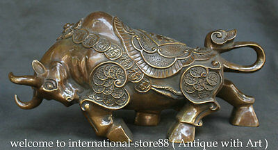 """14"""" Chinese Feng Shui Copper Zodiac Year Bull Oxen Strong Coin Fu Wealth Statue"""