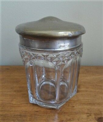 Antique ART NOUVEAU VANTIY DRESSER JAR with Metal Lid (Floral Chased Design)