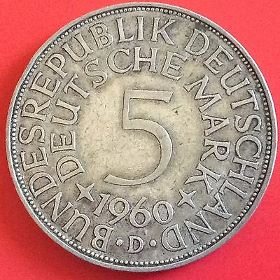 1960 -  D  Germany Silver 5 Mark Coin