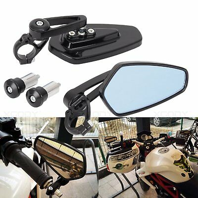 "2x Universal 7/8"" Handle Bar End Motorcycle Billet Aluminum Side Rearview Mirror"