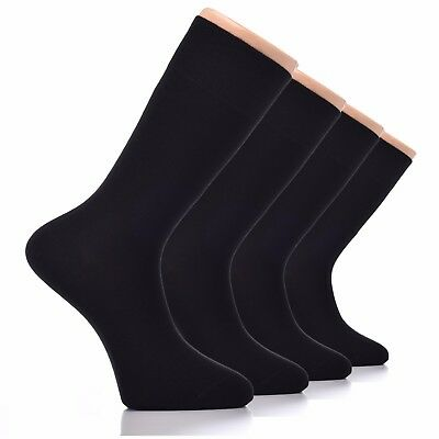 6 Pairs Men's Casual Bamboo Soft Fiber Socks Anti-Bacterial Crew Size (Black)