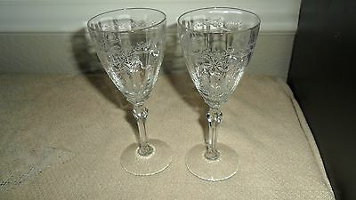 "2 Fostoria June Clear Crystal 5 3/8"" Wine Glasses 1928-1951 Etch 279 Pat. 5098"