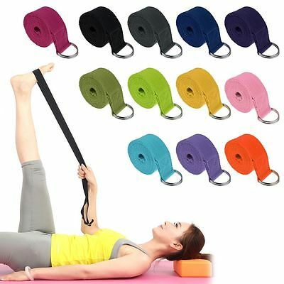 D-Ring Cotton Yoga Stretch Strap Training Belt Waist Leg Fitness Exercise Gym