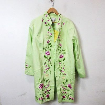 Victor CostaOccasion Women's Long Floral Green Coat Size 3X NWT