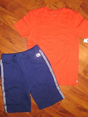 8 10 GAP KIDS 2pc Red Pocket Shirt Blue Sweat Shorts Outfit New M L Boy NWT