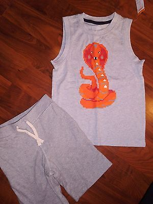 5 T BABY GAP GYMBOREE 2pc Gray COBRA Tank Top Sweat Shorts Boy KIDS Outfit  NWT