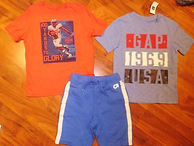 4 5 T BABY GAP 3pc USA Shirt Top Blue Shorts Top Outfit Kids Boy NWT