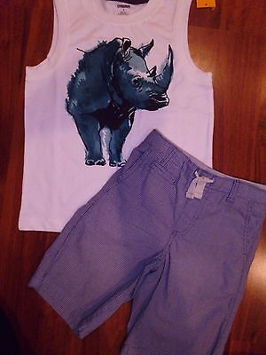 SZ 6 Gymboree 2pc Set Shorts Denim Jean Shirts Rhino Tank Tops Boy New NWT