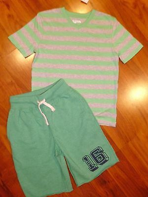 6 7 GAP KIDS 2pc Green Striped Tee Shirt Sweat Shorts Outfit New S Boy NWT