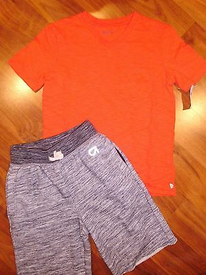 6 7 GAP KIDS 2pc Red Pocket Shirt Gray Sweat Shorts Outfit New S Boy NWT