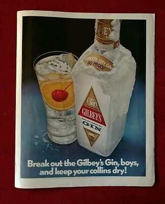 Gilbey's London Dry Gin 1971 Vintage Print Ad