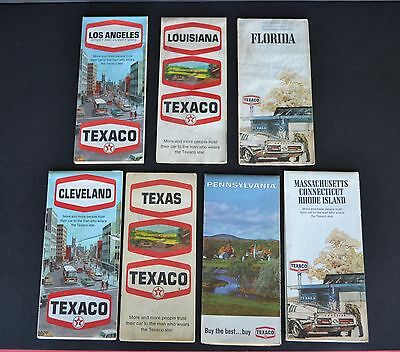 Vintage Service Station Road Maps – Lot of 7 – All Texaco Maps