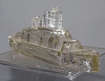 Vintage Glass Candy Container Battle Ship Jennette PA Clear