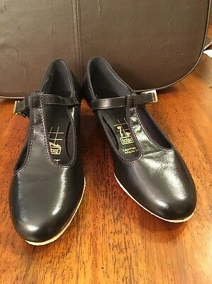 Vintage Tictactoes Women's Black Leather Shoes Made In USA Size 7W