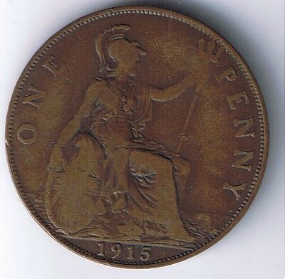 1915 United Kingdom 1 Penny one Pence coin UK British English Great Britain