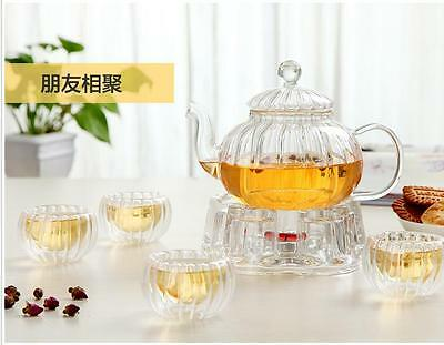 Pumpkin Shape Glass Tea Pot Set Infuser teapot Tea Leaf Herbal + 6 Cups+ Warmer