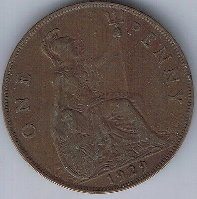 1929 United Kingdom 1 Penny one Pence coin UK British English Great Britain