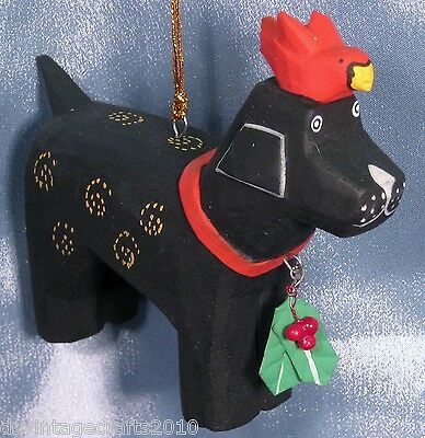Wooden Dog With A Bird Christmas Ornament New