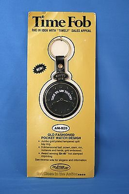 POCKET WATCH TIME Keychain FOB ~ Vintage Advertising SALESMAN SAMPLE