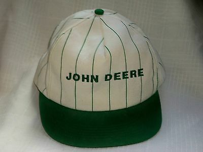 Vintage John Deere Green Striped Baseball Cap Hat Adjustable Embroidered Stripes