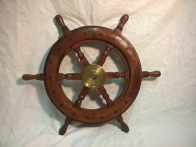 "Nautical Wooden Maritime Decor 17"" Captains Shipwheel Ships Wheel Steering"