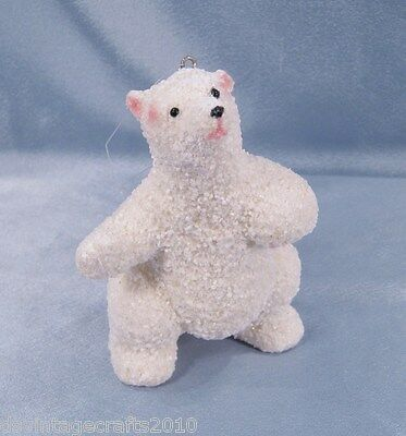 "Polar Bear Sparkling Hanging Christmas Ornament 4.5"" Tall"