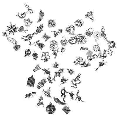 60pcs Antique Silver Charms Mixed Steampunk Vintage Pendants Jewellery DIY