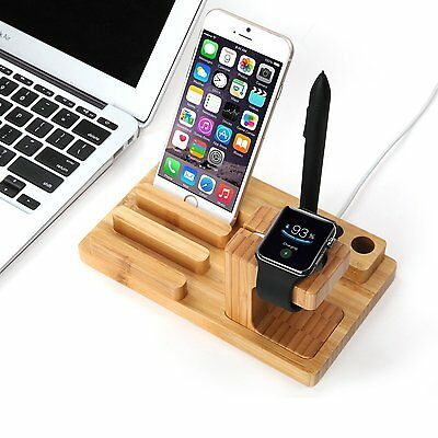 Bamboo Wood Charge Dock Holder Station for iPhone 7 Apple Watch Series 2 Re