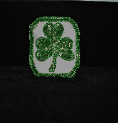 Vintage All Beaded Shamrock Coin Purse With Key Chain Beautiful!!
