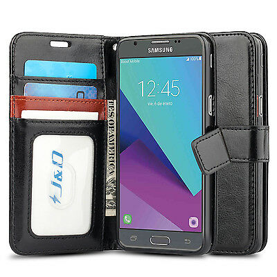 online store eba34 95bdb J&D SAMSUNG GALAXY J3 Emerge [Wallet Stand] PU Leather Flip Cover Wallet  Case