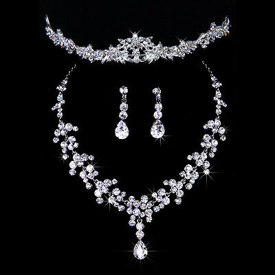 Wedding Bridal Prom Tiara Crystal Flower Leaf Crown Necklace Earring Jewelry Set