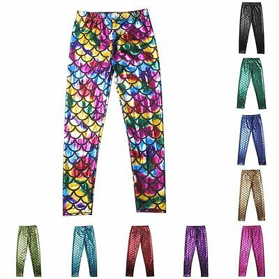 5-12Y Kid Girl Fish Scale Mermaid Skinny Leggings Elastic Long Pants Trousers UK