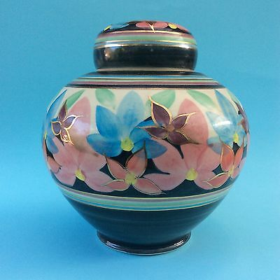 AUSTRALIAN GAMBLES POTTERY GINGER JAR IAN GAMBLE Hand-painted Floral MAGNIFICENT