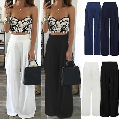 New Womens Chiffon High Waist Wide Leg Pants Summer Beach Party Trousers UK 8-20