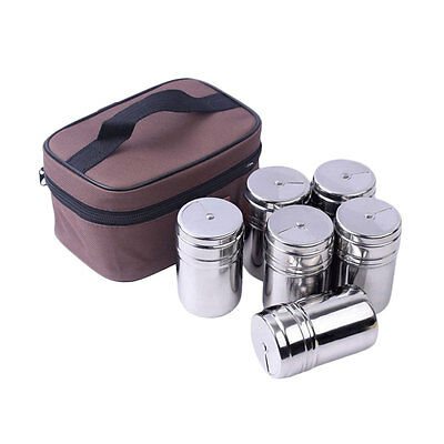 6 Piece Seasoning Box Stainless Steel Container Condiment Jars Cruet with bag