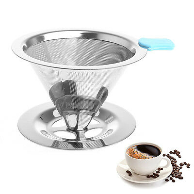 Stainless Steel Strainer Coffee Tea Filters Reusable Funnel Dripper Mesh Makers