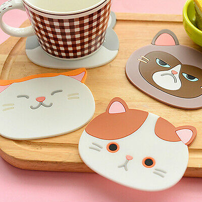 Lovely Cute Cat Pattern Silicone Insulation Placemat Coaster Cup Bowl Mat Happy