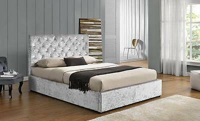 Hot Sale!!! Luxury Silver Crushed Velvet Storage Ottoman Fabric Bed
