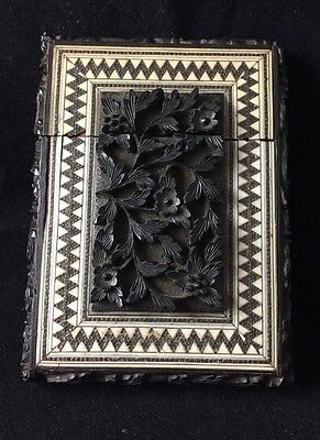 Antique Deeply Carved Anglo Indian Ebony and Sadeli Inlay Card Case 1860s