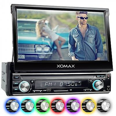 Autoradio Con Schermo A Scomparsa 7 Pollici Touch-Screen Bluetooth Usb Sd 1Din