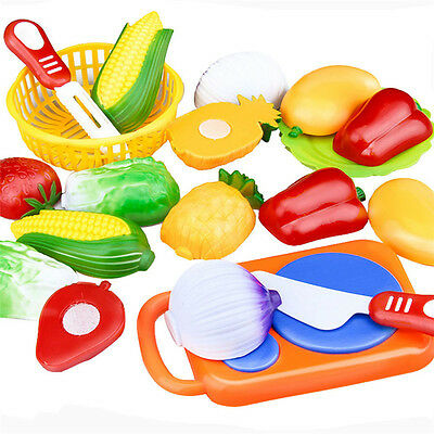 Hot 12PC Cutting Fruit Vegetable Pretend Play Children Kids Educational Toys